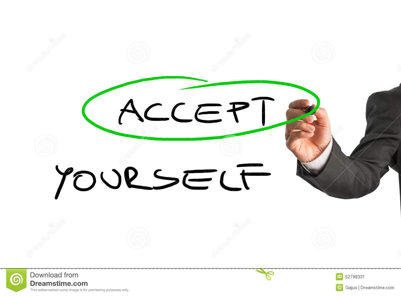 Accept Yourself Message Stock Photo - Image: 52798331