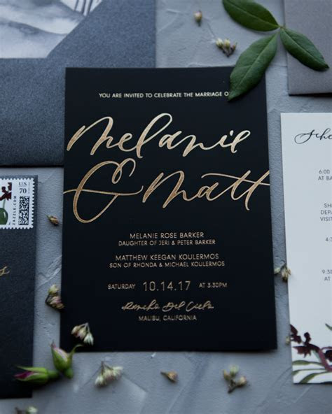 Glamorous Mixed Metals Wedding Invitations