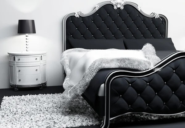 ... — Luxurious furniture in bedroom interior. Modern