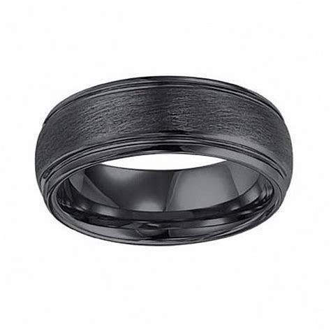 Triton Men's 8.0mm Comfort Fit Black Tungsten Wedding Band