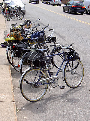 Line of bikes parked along curb in Maiden Rock