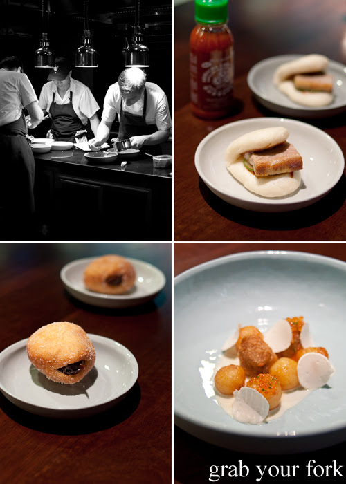 Momofuku Seiobo Sydney pork buns, deep-fried parons nose and pork fat caramel donuts