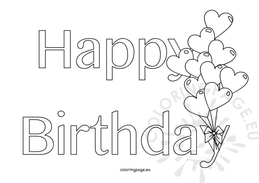 Happy Birthday hearts shape balloons - Coloring Page