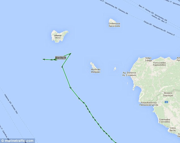 Further shiptracking data shows that Blue Sky made two sharp turns before heading towards Italy