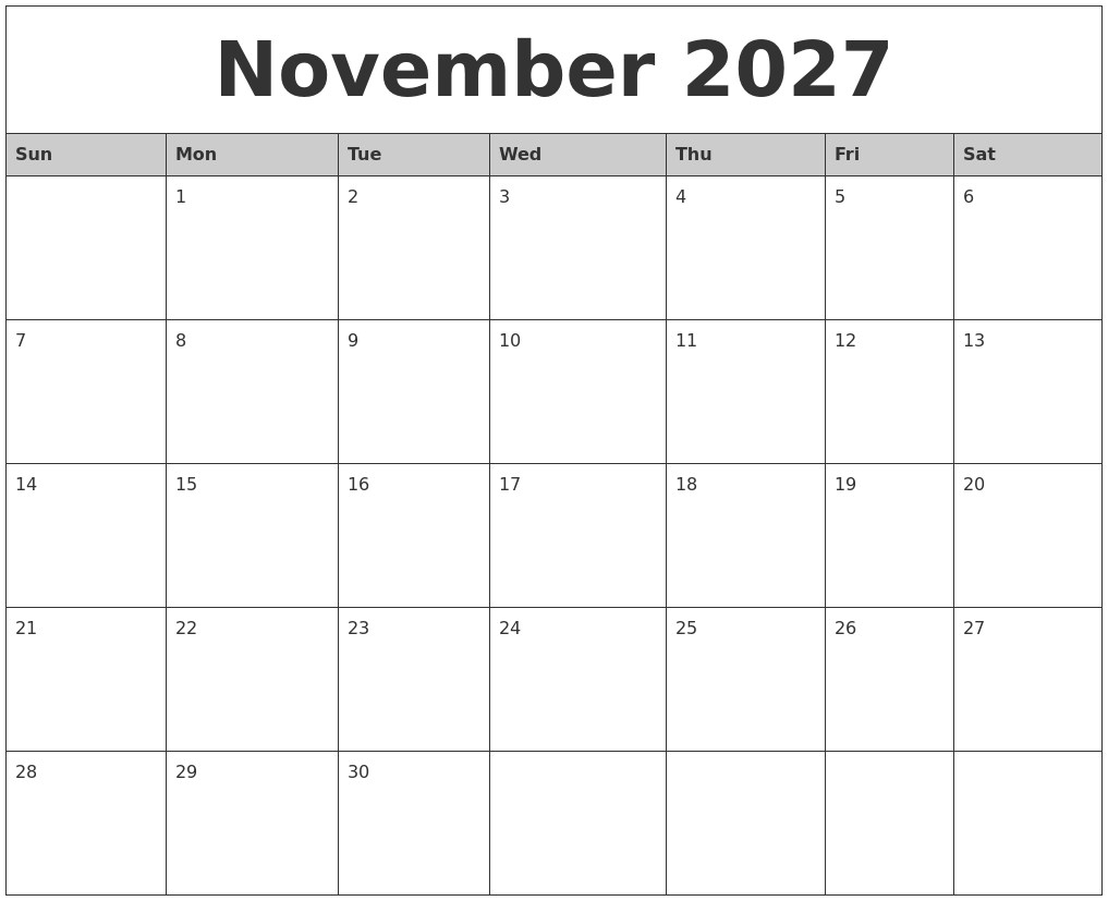 november 2027 monthly calendar printable