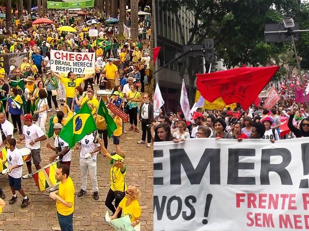 Belo Horizonte teve dois protestos neste domingo (31) (Foto: Reprodução TV Globo/Humberto Trajano G1)