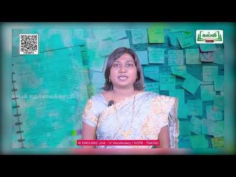 11th English Vocabulary Unit 4 Part 1 Kalvi TV