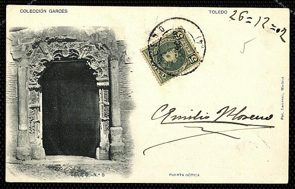 Fachada del Palacio de los Señores de Peromoro en su primitivo emplazamiento en la Calle del Instituto. Foto Laurent hacia 1902