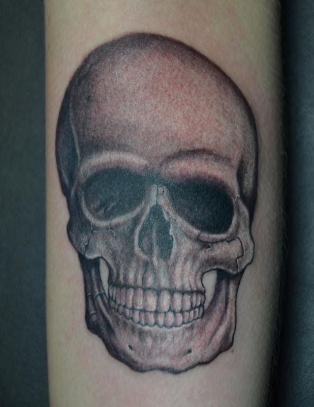 Realistic Black And Grey Skull By Rafael Marte Tattoos