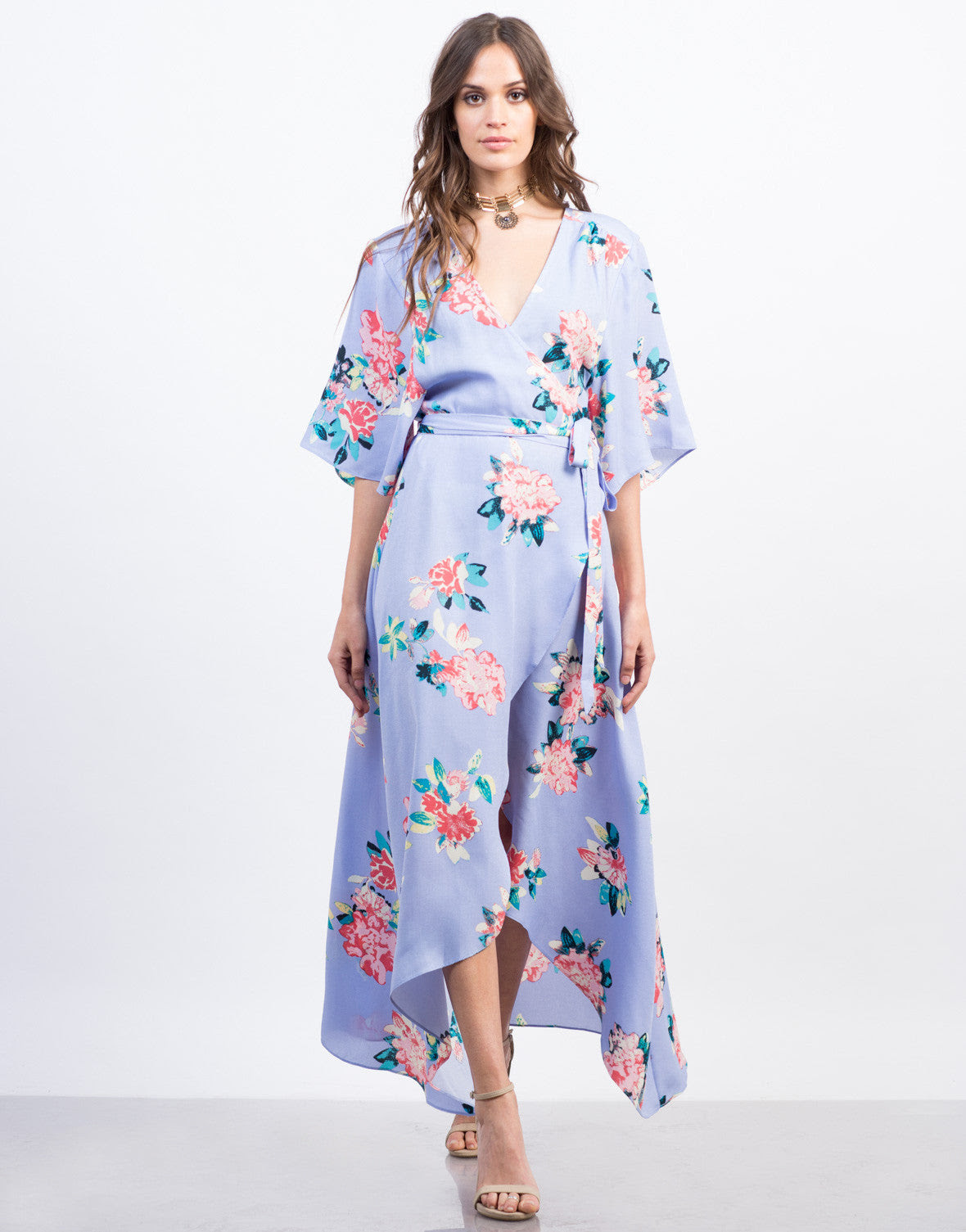 floral kimono wrap dress  maxi dress  purple dress – 2020ave