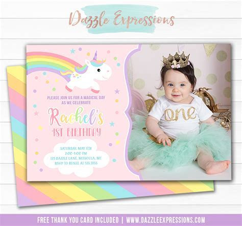 Printable Baby Unicorn Birthday Photo Invitation   Girls