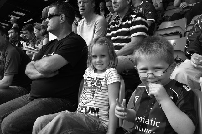 Oliver and Paris, with Bampy at Gresty Road, Crewe