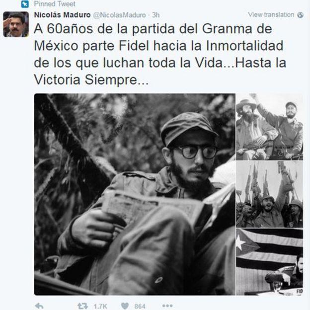 Cuenta de Twitter de Nicolás Maduro recordando a Fidel Castro