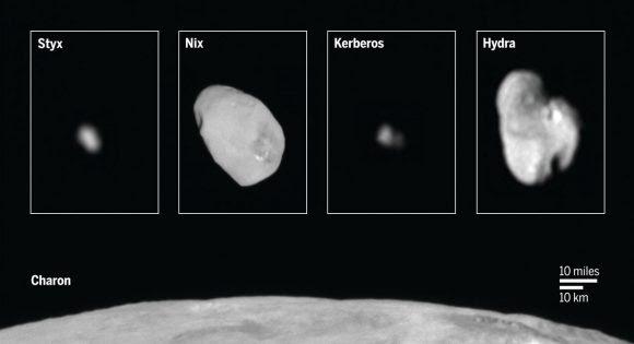 El sistema de lunas de Plutón (sciencemag.org/NASA).