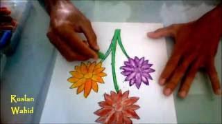 Cara Mudah Menggambar Dan Mewarnai Bunga Matahari Dengan Krayon