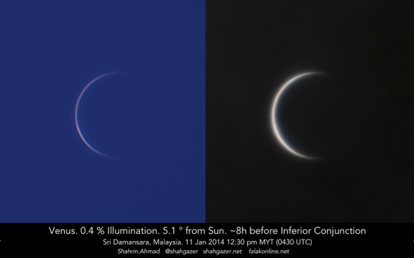Venus, 0.4% illuminated and 5.1 degrees from the Sun, as seen about 12:30 pm local noon time from Sri Damansara, Malaysia (0430 UTC) on January 11, 2014, about about 8 hours before inferior conjunction. Credit and copyright: Shahrin Ahmad.