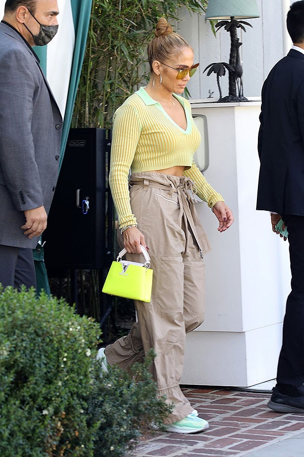 Jennifer Lopez Attends Business Meeting In Yellow Crop Top — Pics – Hollywood Life
