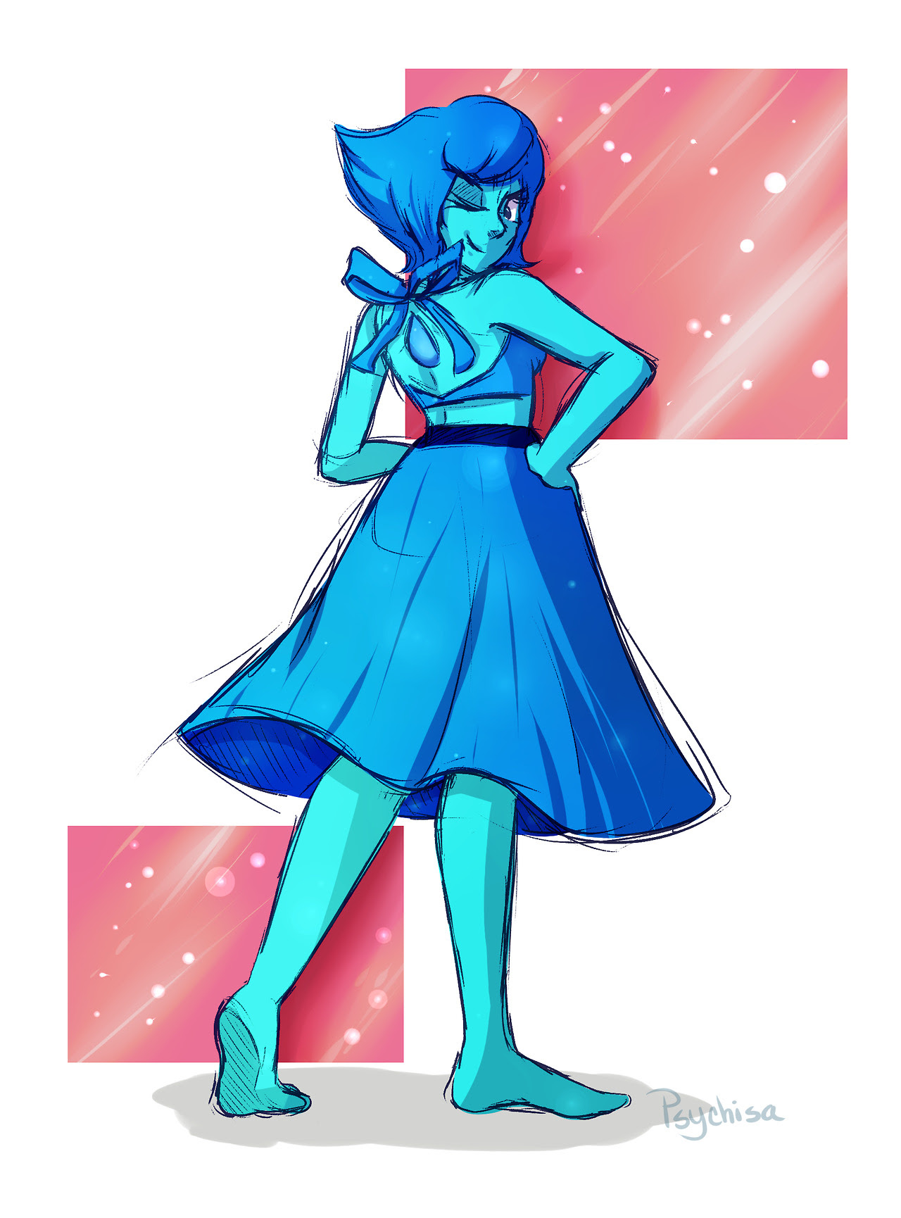 Here's more art! This time it's Lapis from Steven Universe durig that one ep where her, Peridot and Connie have to 'defend' Beach City. That was so cute lmaoo