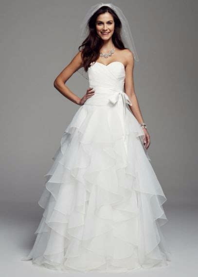 David's Bridal Strapless Organza Wedding Dress with