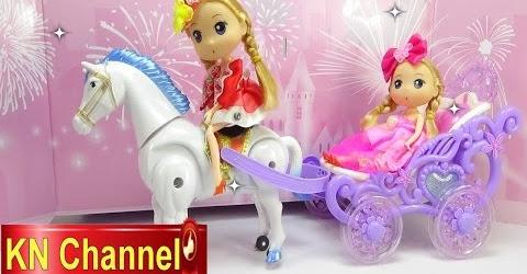 Đồ chơi trẻ em Bé Na Nhật ký búp bê Chibi tập 28 Xe ngựa kéo Horse wagon and baby doll Child toys