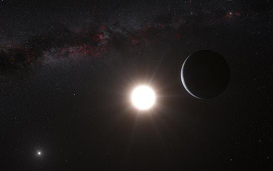 Concepção artística do planeta descoberto em Alpha Centauri
