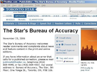 Corrections webpage, Toronto Star