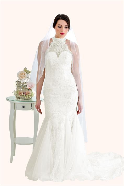 Zara   Lace High Neck Low Back Wedding Dress