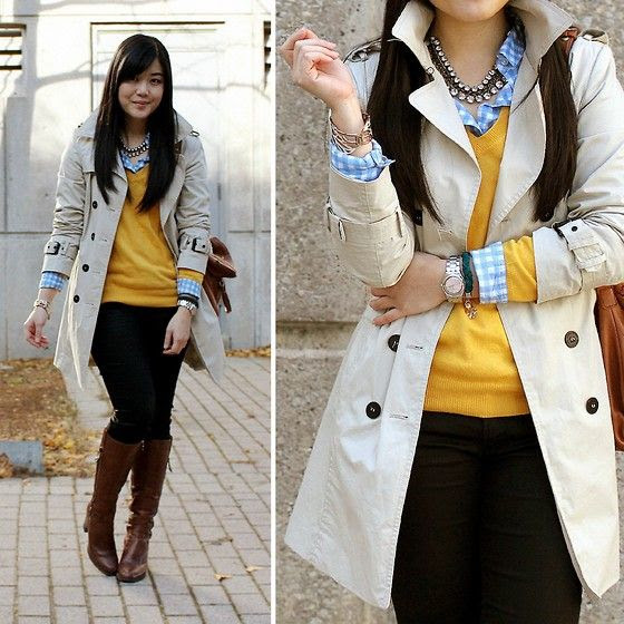 Trench coat, boots and chunky necklace
