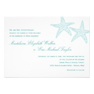 Starfish Wedding Invitation - Turquoise