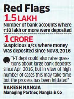 Suspicious bank deposits first in Income Tax's probe queue