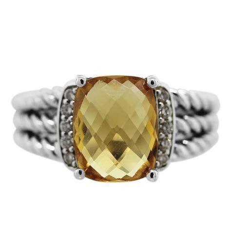 David Yurman Citrine and Diamond Petite Wheaton Ring