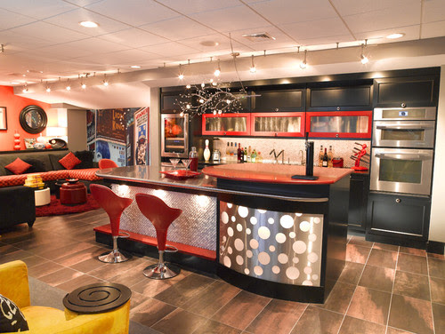 Really Cool Basement Interior Design Photos - Basement Diner Bar | Live Love in the Home