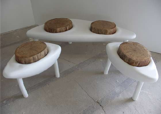 Tree Stump Seating - Cratere Benches by Binome-Jardin Turn Cut