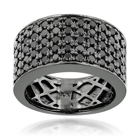 Designer 10K Gold Black Diamond Wedding Band for Men 1