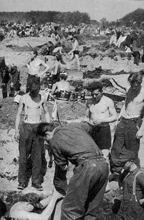 German POWs had to dig holes for shelter