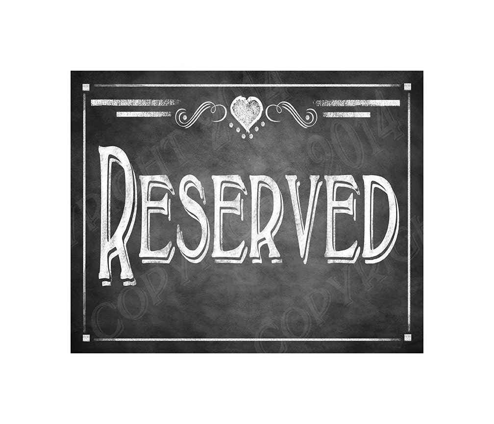 Rustic  many Style  RESERVED rustic  as Chalkboard   signs signs  as  Collection reserved Print