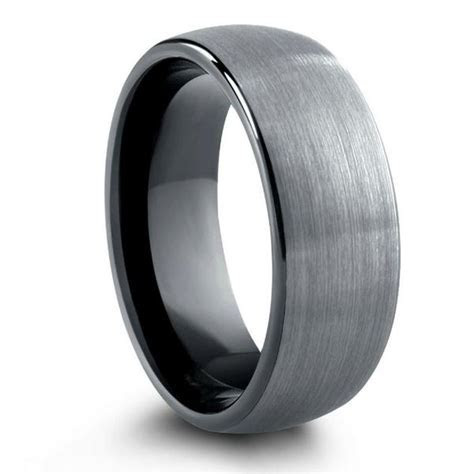 Brushed Tungsten Wedding Band With Black Inside   8mm or