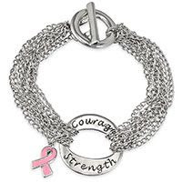 With Courage and Strength Pink Ribbon Bracelet