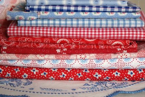 red, white,  blue fabrics