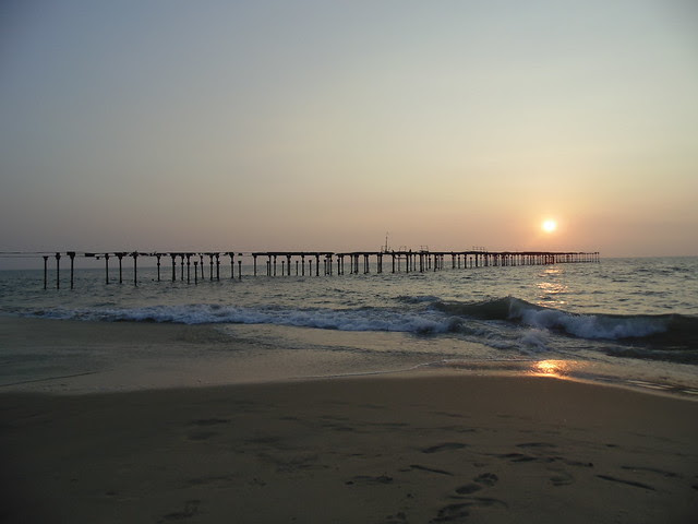 distant view of sunset at alappuzha beach