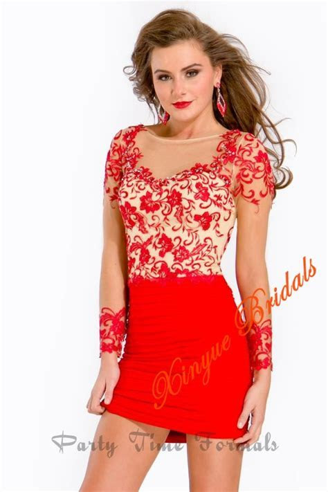 Sheer Neckline And Long Sleeves Lace Overlay Open Back Red