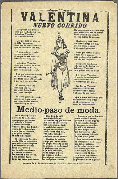 "A ""Valentina"" corrido szövege, Mexikó, 1915"