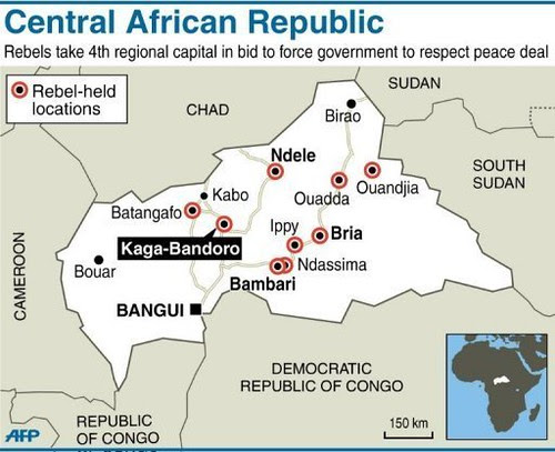 Map of Central African Republic where rebels have taken the capital of Bangui. Supporters of President Francois Bozize wanted intervention by France to stop the rebel advances. by Pan-African News Wire File Photos