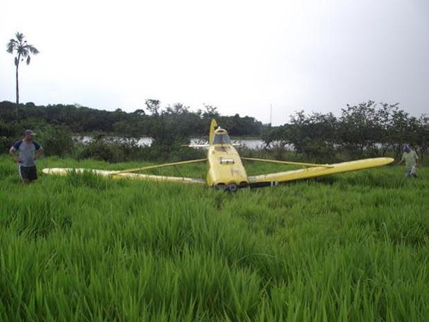 Piloto tentou pousar em lago da fazenda, mas não conseguiu (Foto: Divulgação/Defesa Civil Talismã)
