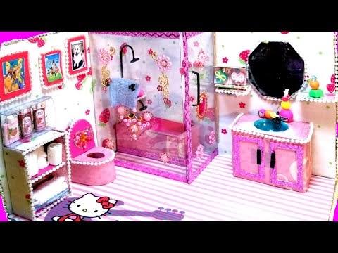 Diy Dollhouse Miniature Bathroom | How to make doll room |Easy room tuto...