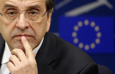 Greek Prime Minister Antonis Samaras attends a news conference after a debate on the program of Greece's presidency of the EU for the next six months at the European Parliament in Strasbourg, January 15, 2014. REUTERS/Christian Hartmann