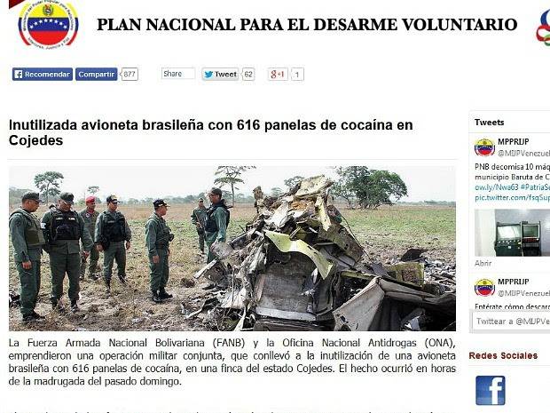 Escritório Nacional Antidrogas (ONA) informou à Embaixada do Brasil sobre a morte de brasileiros em avião abatido na Venezuela   (Foto: Reprodução )