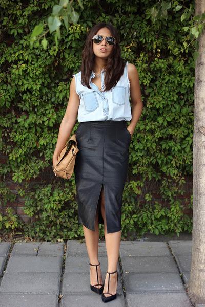 black pencil skirt asos skirt - light blue denim shirt Levis shirt