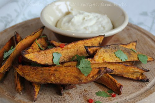 Sweet Potato Wedges with Lemongrass Creme Fraiche 1
