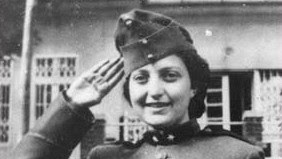 Hannah Szenes dressed as a Hungarian soldier on Purim (photo credit: Wikimedia Commons)